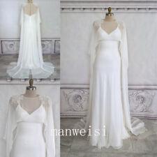 Ivory Chiffon Wedding Capes White Beading Jackets Long Cloaks Shawls For Bride