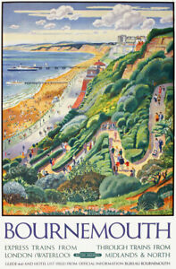 TX537 Vintage Bournemouth Travel Poster British Railway A2/A3/A4