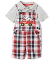 Boys plaid fire truck outfit 6 12 18 24 months NWT fireman red black romper set