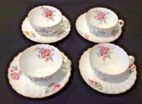 SPODE COPELAND'S CHINA ENGLAND IRIS LOT OF 4 FOOTED CUP & SAUCER SETS GORGEOUS!!