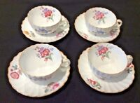 SPODE COPELAND'S CHINA ENGLAND IRIS SET OF 4 FOOTED CUP & SAUCER SETS GORGEOUS!!