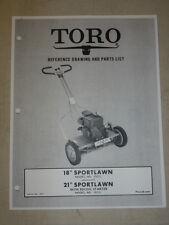 "1955 TORO MOWER OPERATING PARTS MANUAL MODEL SPORTLAWN 18"" 21""  BOOK # 8039"