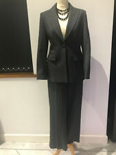 WOOL LADIES VIYELLA GREY PIN STRIPE SUIT SINGLE BREASTED JACKET & TROUSERS SZ 8