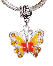Butterfly Orange Peach Enamel Rhinestone Dangle Charm for European Bead Bracelet