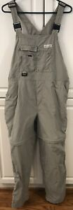 Columbia Women XL Bib Overalls Convertible Pants Shorts 14 Pockets Olive Artist