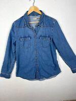 Women's TOPSHOP MOTO Size 12 Denim Shirt Light Wash Button Down Long Sleeve