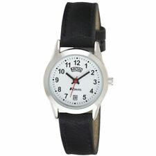 Ravel Ladies Day Date Watch With Black Strap & Bold Number White Face RO706