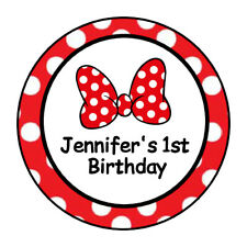 Minnie bow stickers for a mouse Birthday party, labels, tags, personalized