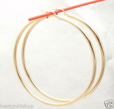 """3"""" 75mm Large Shiny Plain Hoop Earrings REAL 14K Yellow Gold 3mm FREE SHIPPING"""