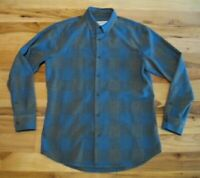 Mizzen Main Trim Fit Blue Plaid Check Button Front Long Sleeve Shirt Mens Medium