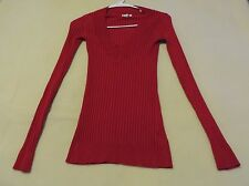 Grane Red Ribbed Knit V-Neck Rayon Blend Long Sleeve Sweater - Size S