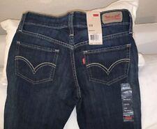 Women's Levi's 518 Bootcut Superlow Jeans 1 M Dark Blue Dark Wash Silver Button