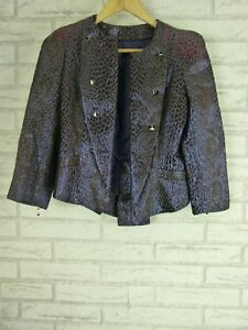 CUE Jacket Sz M Purple metallic print