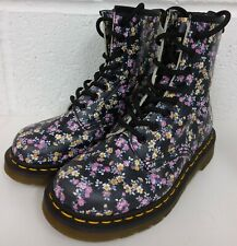 DR MARTENS BOOTS, 1460 8 EYE. LOTTIE BLACK FLORAL FLOWER PRINT - SIZE 3 UK / 36