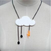 Storm Cloud Rain Drop Lightning Acrylic Necklace Jewellery Kitsch Quirky Gift