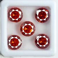 Natural Orange Sapphire Loose Gemstone Lot 20 Ct Round Cut AGSL Certified 5 Pcs