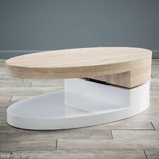 Modern Design White Gloss Wood Oval Swivel Top Coffee Table