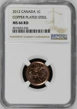 2012 CANADA CENT 1C COPPER PLATED STEEL NGC MS66RD