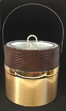 Vintage Georges Briard Gold & Brown Faux Alligator Ice Bucket - Mcm - Man Cave