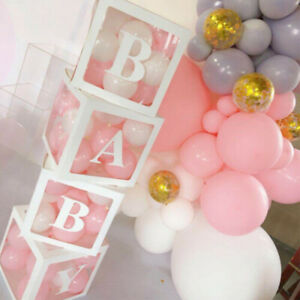 Letter Cube Transparent Boxes Kid Birthday Baby Shower Party Decoration Gift US