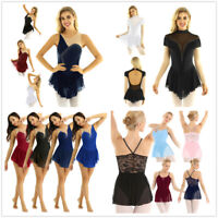 Women Gymnastics Contemporary Ballet Dance Leotard Ice Skating Skirt Gym Dress