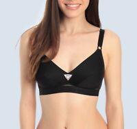 Sassa Damen Soft Sport-BH Sports Bra ohne Bügel mit Baumwolle schwarz 75-95 B-D