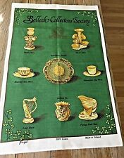 A+ Belleek Collectors Society Tea Towel 100% Linen FINGAL Kelly Green Shamrocks
