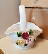 Heritage Pottery Mini Ceramic Basket With Flower Decor Collectible*New