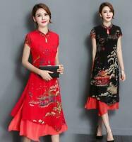 New Womens Elegant Chinese QiPao Cheongsam Evening Party Long Dress Casual M-3XL