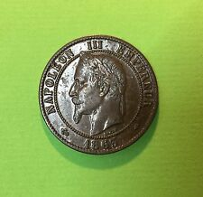 DIX CENTIMES 1863 NAPOLEON III Tête LAUREE A PARIS en BRONZE -- QUALITE --