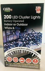 200 LED CLUSTER LIGHTS BATTERY OPERATED WHITE AND BLUE