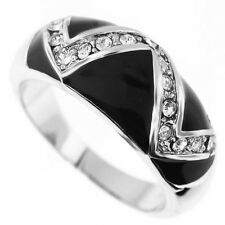 Crystal Stones Wave With Black Enamel Silver Rhodium Plated Ladies Ring Size 9