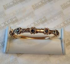 Antique 14k yg Sapphire Bangle Bracelet with Rope Wire Boxes .75 ctw