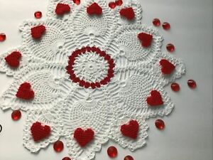 Brand New Hand Crocheted Valentine Centerpiece Doily