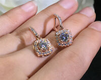 2Ct Round Gorgeous Cut Moissanite Drop/Dangle Earring Solid 14K Rose Gold Finish