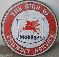 "MOBIL/ MOBILGAS SERVICE, ROUND 12"" METAL WALL SIGN/ PETROL, GAS, DINER/GARAGE"