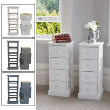 A Pair of Wooden Slim Tall Bedside Tables with 4 Drawer Bedroom Storage 3 colour