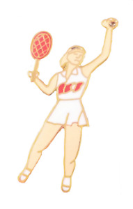 Tennis Player With Racket and Ball Pin Badge