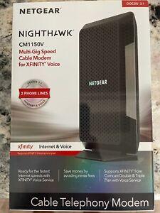 NETGEAR CM1150V-100NAS Nighthawk Cable Modem with Voice CM1150V Black