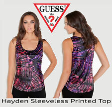 GUESS Hayden Sleeveless Printed Top  ABSTRACT PRINT  Sz S $59 NWT
