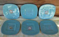 "6 VTG MCM 8"" Square Terra Madre by Haeger Turquoise Lunch Salad Dessert Plates"