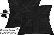 2X EXCLUSIVE LUXURY GENUINE SUEDE CUSHION DESIGN UNION JACK LARGE BLACK