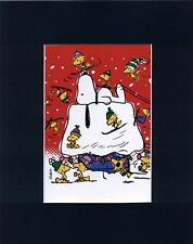 SNOOPY & WOODSTOCK~HIT THE SKI SLOPES~8 x 10 Mat Print~DOWNHILL ON THE DOGHOUSE