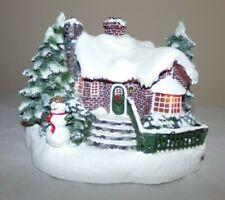 "Thomas Kinkade Teleflora 'A Village Christmas"" W Snowman - Lights Up!"