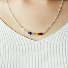 Natural Beads Pendant Silver Chain Yoga Reiki Healing Balance Chakra Necklace