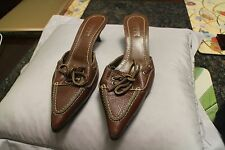 Lambertson Truex Blue Brown  Leather Pointed Toe Heeled Mules Size 38.5 8.5