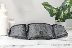 MCM Nordstrom Exclusive Large Visetos Phantom Grey Triple Pocket Sling Belt Bag