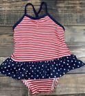Gymboree Girls Red White Blue Star Stripe Nwt Swimsuit 3-6 M