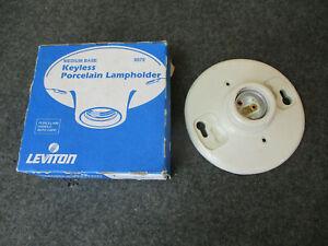Leviton Keyless Porcelain Lampholder No. 9875 Medium Base Made in USA NOS