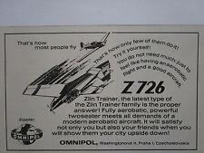 4/1975 PUB OMNIPOL ZLIN Z 726 TRAINER AEROBATIC AIRCRAFT FLUGZEUG ORIGINAL AD